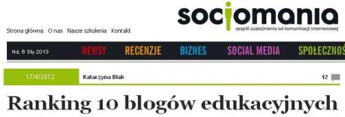 Nasz blog wśród 10 blogów edukacyjnych na pozycji 5.